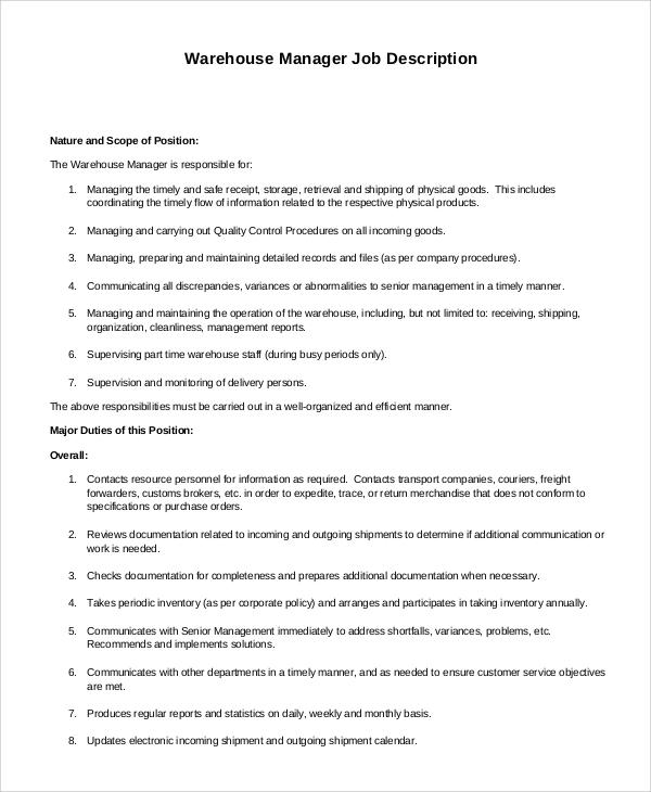 warehouse manager job description