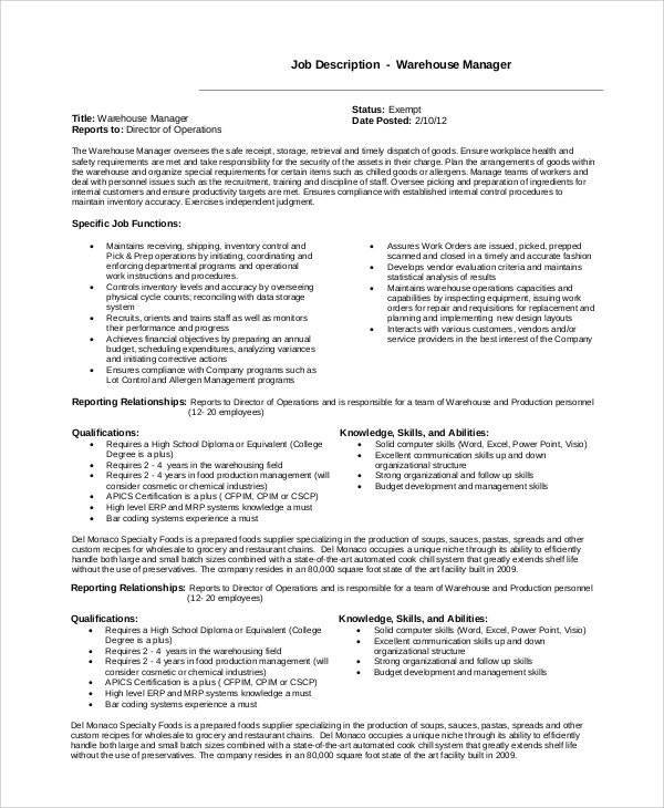 10 Warehouse Manager Job Description Samples Sample