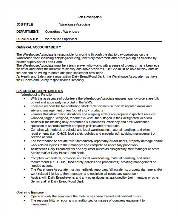 10 Warehouse Manager Job Description Samples Sample