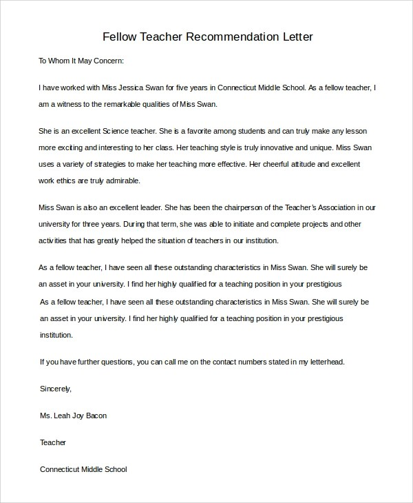 8 Sample Teacher Letters Of Recommendation Sample Templates