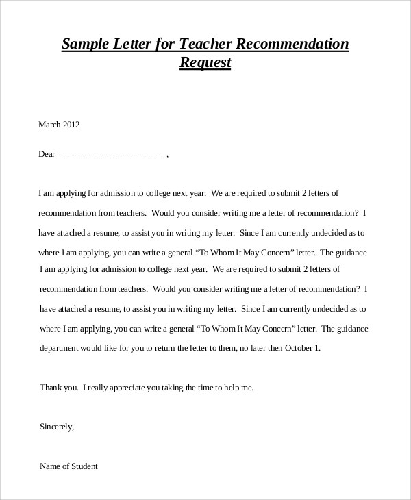 A cv is a longer synopsis of your educational and academic background as well as teaching. Free 7 Sample Teacher Letter Of Recommendation In Pdf Ms Word