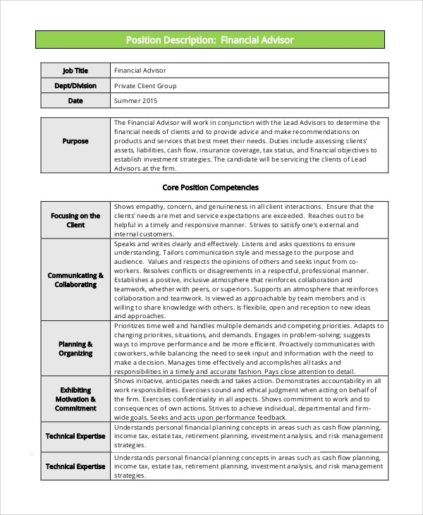 Sample Financial Advisor Job Description  7 Examples in