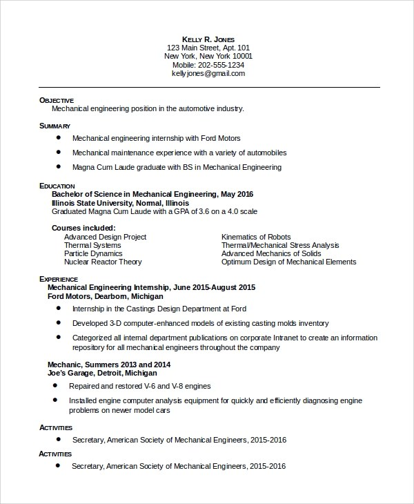 8 Sample Maintenance Resumes Sample Templates
