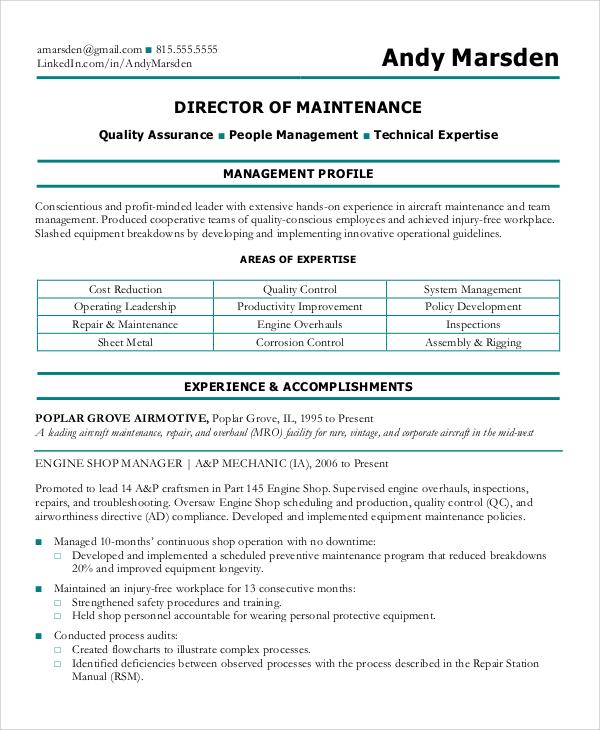 Maintenance Resume Example | brandforesight co