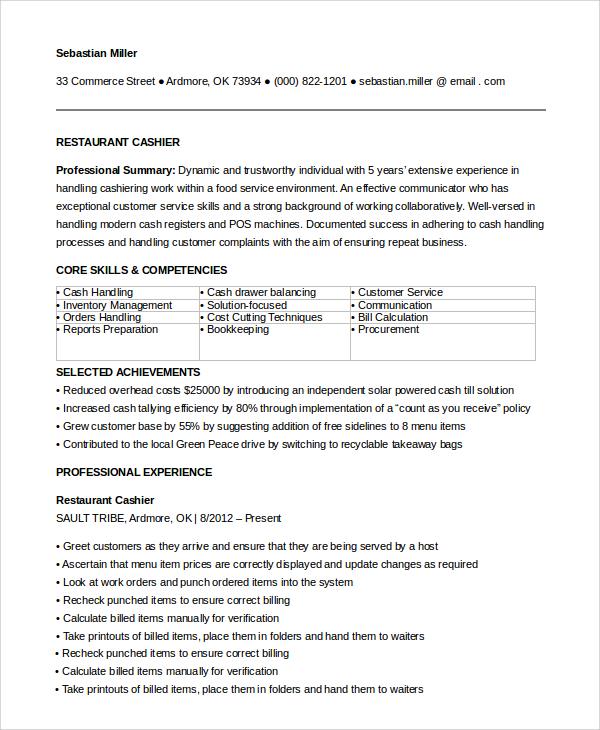 resume sample cashier