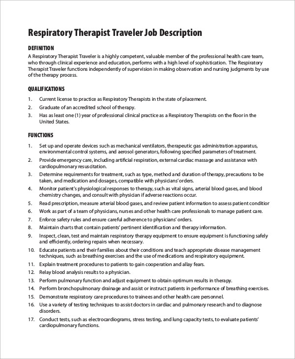 10 Respiratory Therapist Job Description Samples Sample