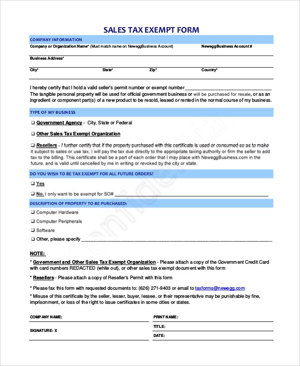 10+ Sample Tax Exemption Forms