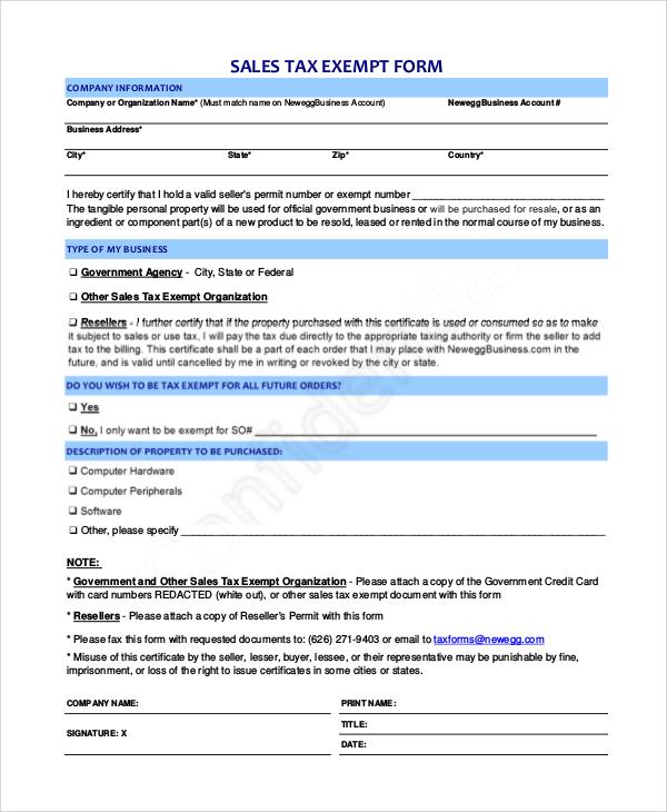 Sales Tax Sheet