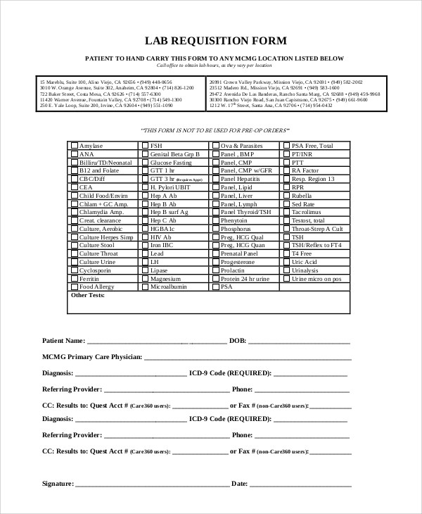 lab requisition form template 7 Ingenious Ways You Can Do