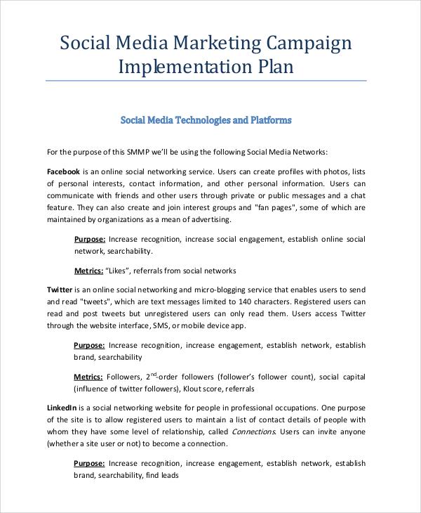 FREE 15+ Sample Social Media Marketing Plan Templates in PDF   MS Word   Google Docs