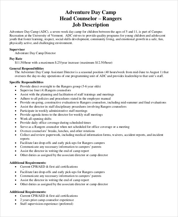 9 Camp Counselor Job Description Samples Sample Templates