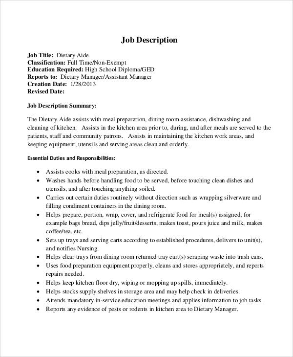 Dietary Job Description