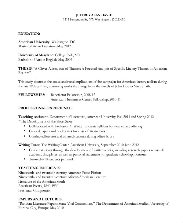 8 Curriculum Vitae Samples Sample Templates