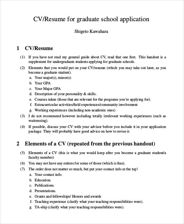 resume template graduate school application