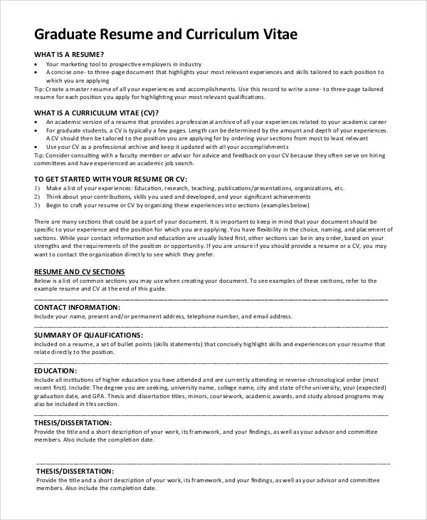 resume with graduate school examples