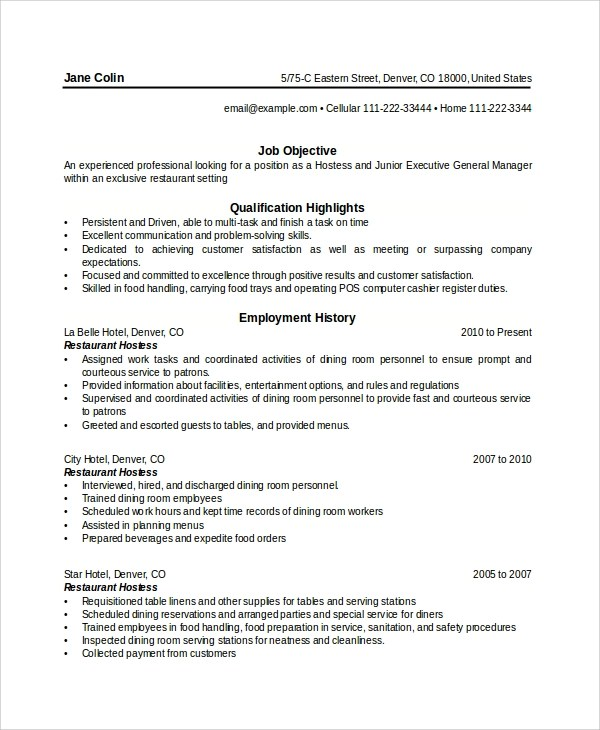 hostess duties resume unforgettable host hostess resume examples