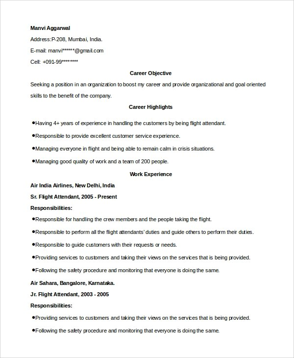 6 Sample Hostess Resumes – PDF DOC Sample Templates