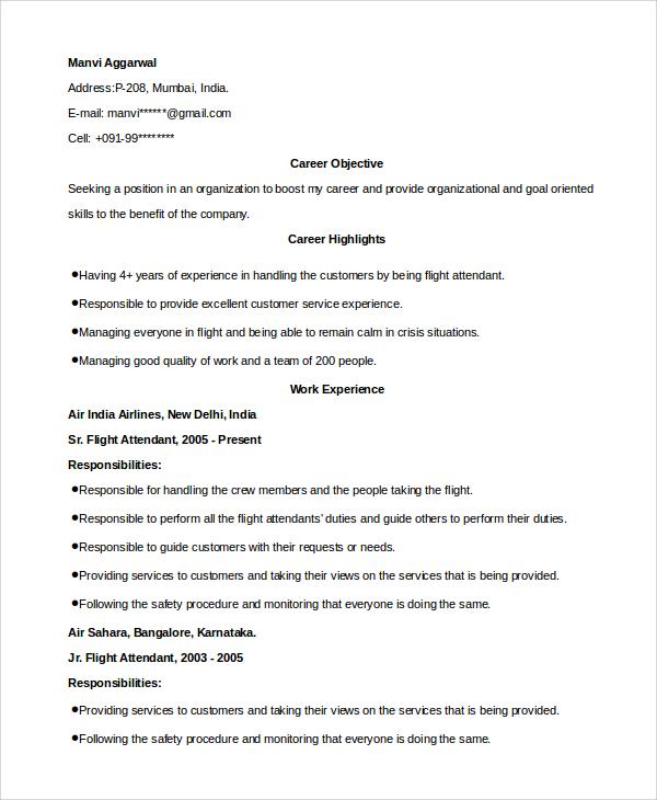 hostess resume objective samples