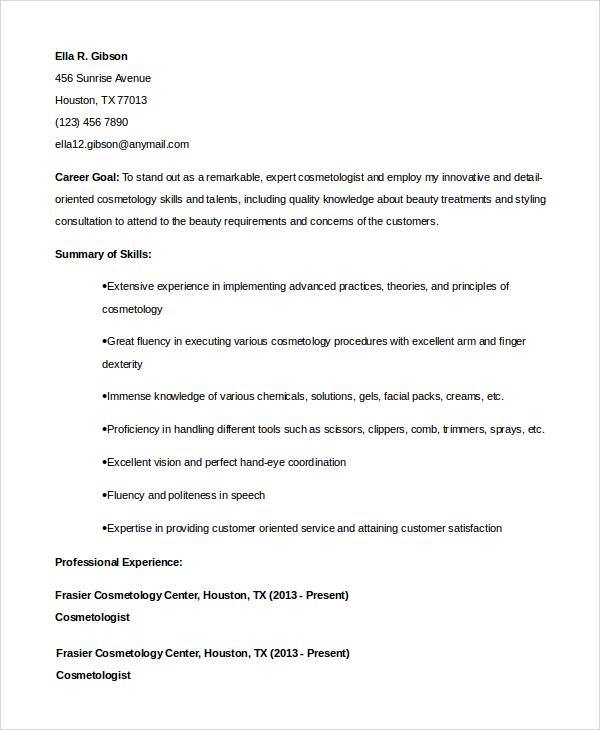 Cosmetology Student Resume : cosmetology, student, resume, Sample, Cosmetology, Resume, Templates