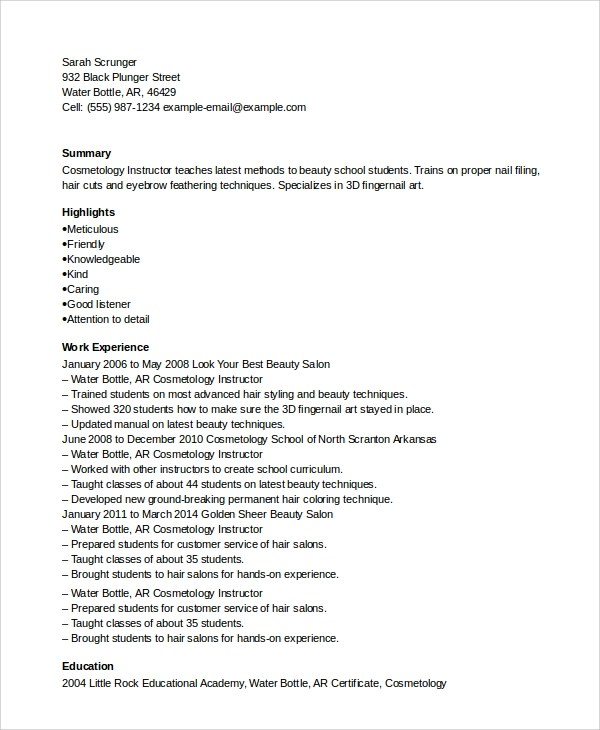 Sample Cosmetology Resume  6 Examples in PDF Word