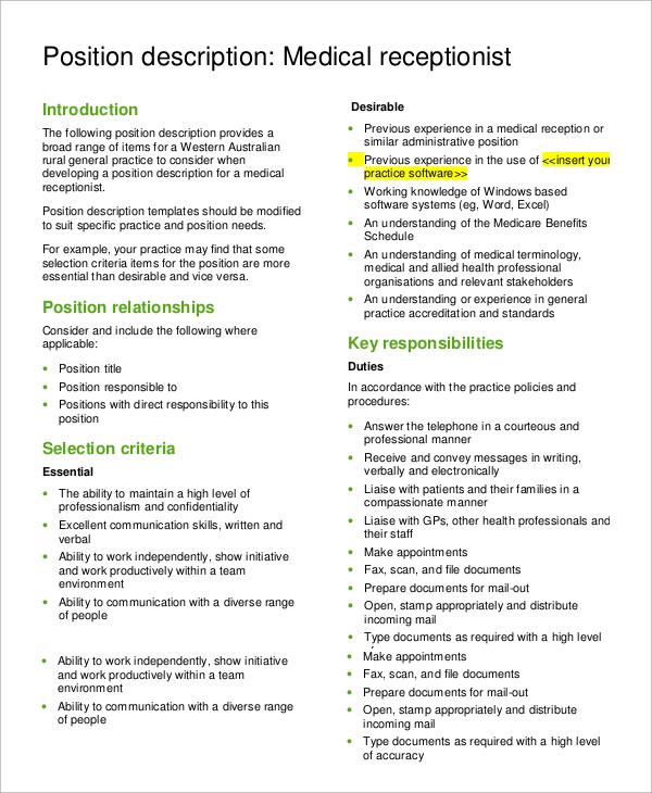 resume job description for receptionist