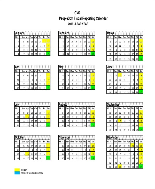 Sample Fiscal Calendar 9 Examples In XLS PDF