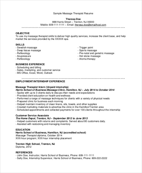 7 Sample Massage Therapist Resumes – PDF DOC Sample