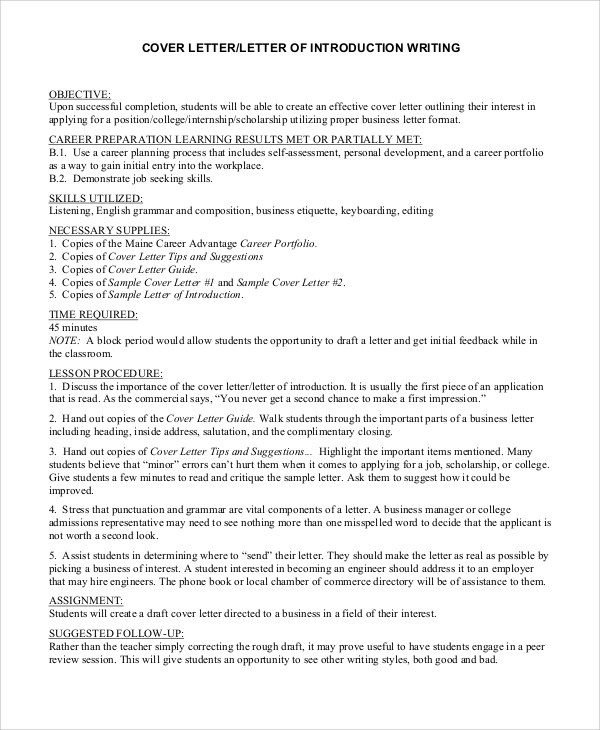 8 Cover Letter Introduction Samples Sample Templates