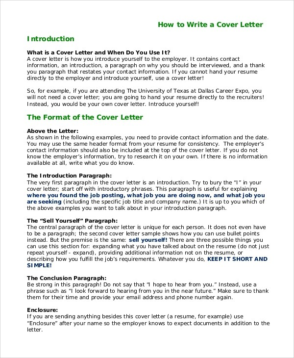 How To Write A Cover Letter Introduction