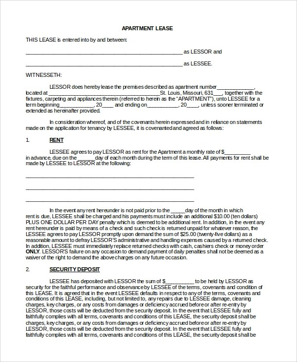 10+ Sample Lease Agreement Forms | Sample Templates