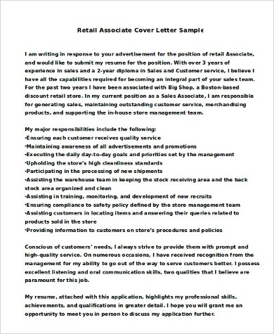 Sample Retail Cover Letter  9 Examples in PDF Word