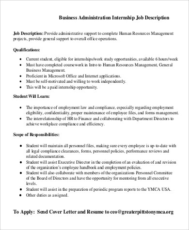 Sample Business Administration Job Description 10