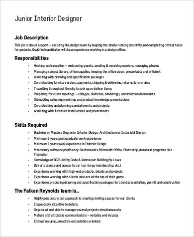 Sample Interior Designer Job Description 9 Examples In Pdf Word