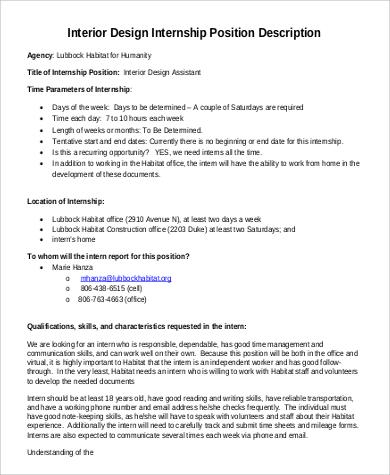 Interior Designer Job Description Pdf
