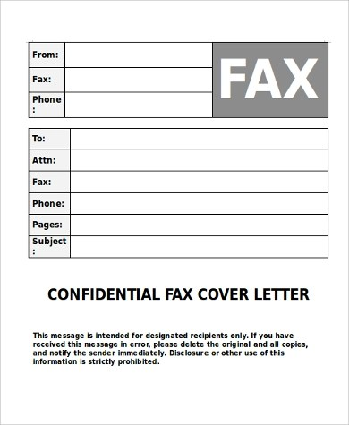 Fax Cover Letter Sample 9 Examples In PDF Word