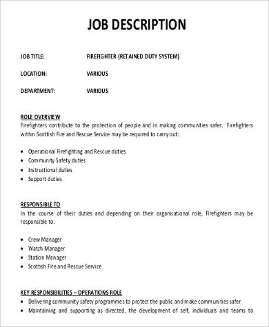 Sample Firefighter Job Description  9 Examples in PDF