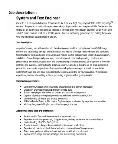 Sample Systems Engineer Job Description  9 Examples in PDF