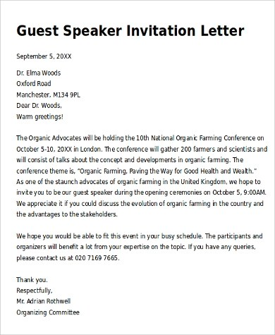 official invitation letter format