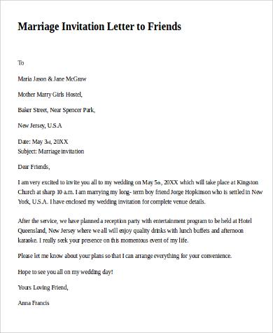 Invitation letter wedding paperinvite sample invitation letter 9 examples in pdf word stopboris Gallery