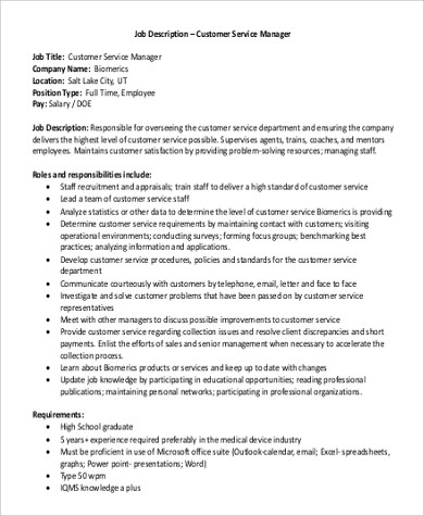 Sample Customer Service Manager Job Description  11 Examples in PDF Word