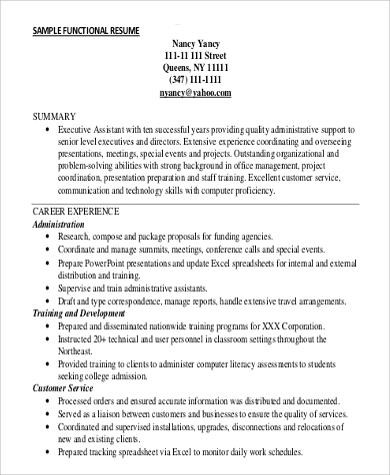 Functional Resume Sample 9 Examples In Word PDF