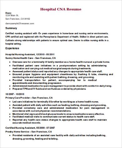 9 CNA Resume Samples Sample Templates