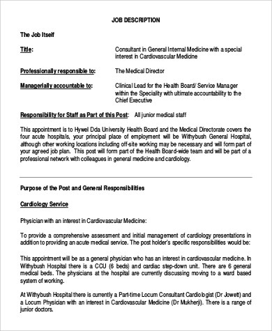 Sample Cardiologist Job Description 6 Examples In PDF