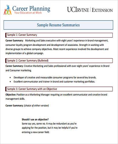 example of a career summary