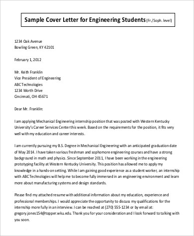 7 Cover Letter Examples For Students Sample Templates