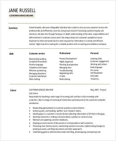 Sample Skills For Resume Example 9 Samples In Word PDF