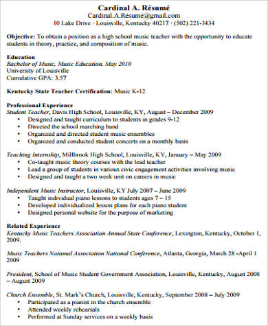 Teacher Resume Examples 8 Samples In Word PDF