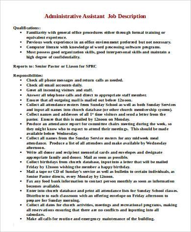 Sample Administrator Job Description  9 Examples in PDF Word