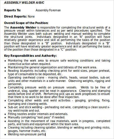 9 Welder Job Description Samples Sample Templates
