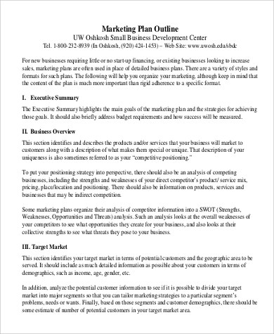 Sample Marketing Plan Outline 14 Examples In Word PDF